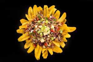 MIC Food Crispy Plantain Strip Nacho Platter with Avocado and Cotija Cheese