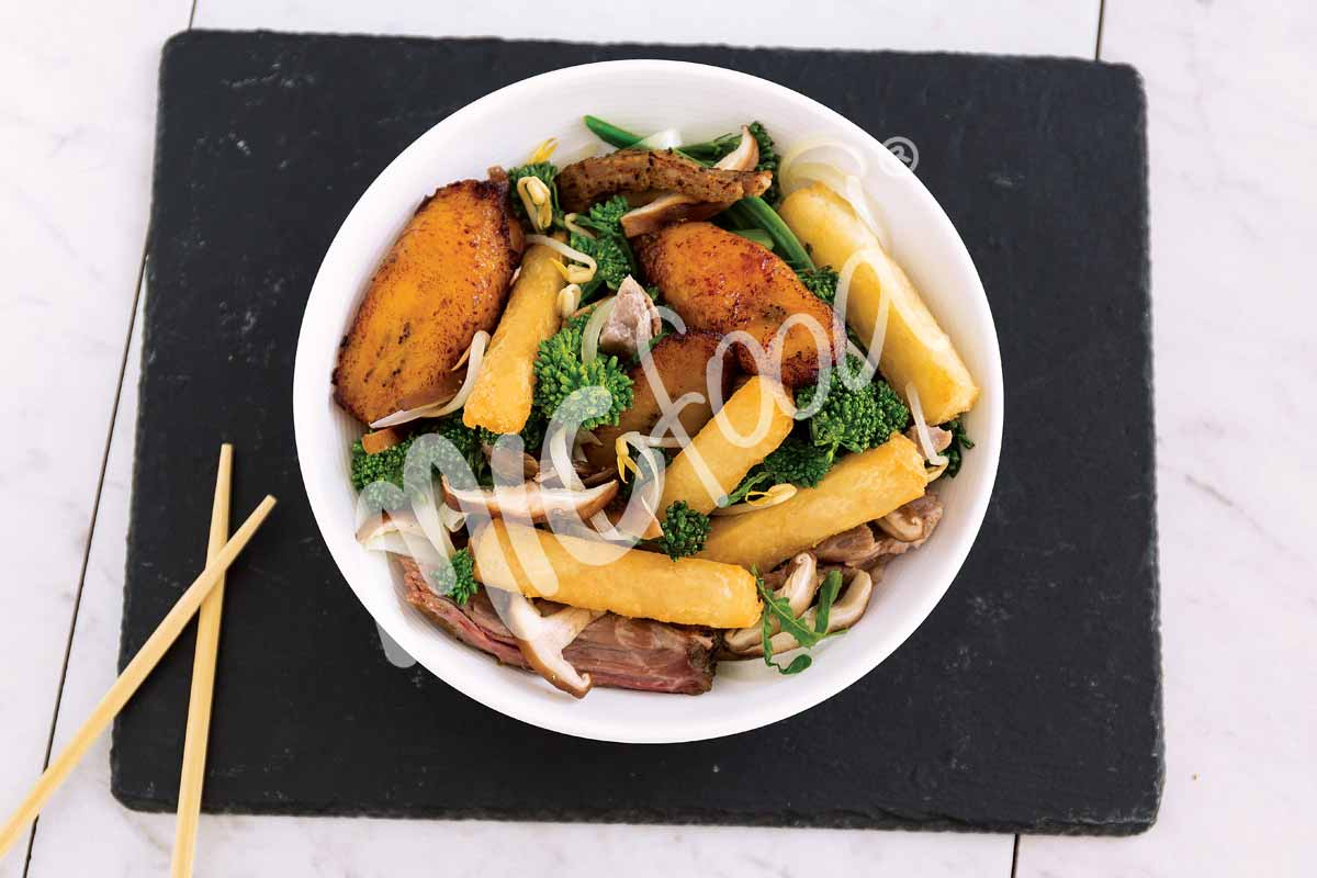 MIC Food Big Banana Plantain and Tio Jorge Yuca stir fry