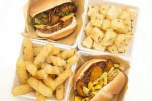 MIC Food Big Banana Angus plantain burgers with yuca fries